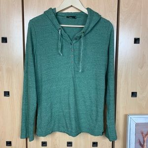 PRANA hooded button popover sweatshirt